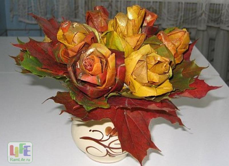 Роза из листьев своими руками мастер класс